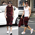 Sporting hoodies men Color block male Sweatshirt capris decoration slim sleeveless with a hooded sporting casual set