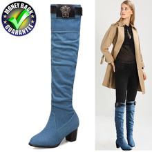 New Winter Boots Women Warm Knee High Boot Over The Knee Boots Plus Size Long Plush Snow Boots Jeans shoes Fashion Female Thigh цены онлайн
