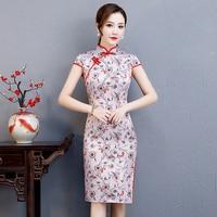 Large Size 3XL Vintage Girl Print Floral Cheongsam 2019 New Faux Silk Elegant Evening Dress Gown Mandarin Collar Retro Qipao