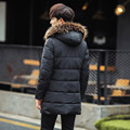 Mens thinckening warm cotton padded winter jacket men fashion letter print fur hooded parka coat men's clothing size m-3xl MF15