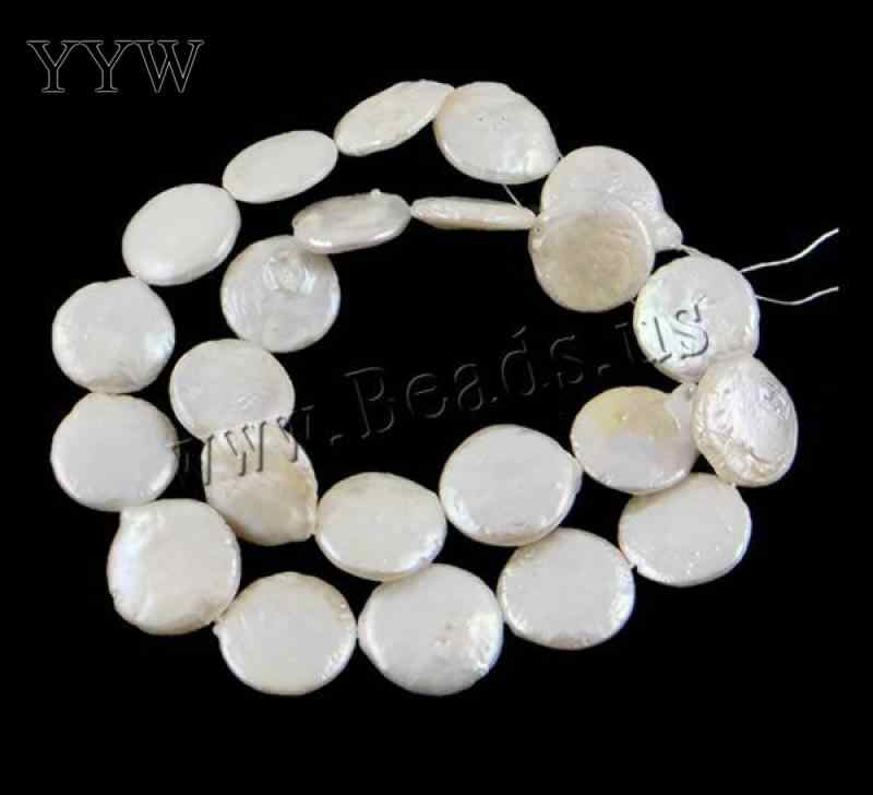 AA grade white color 15mm Natural Coin Cultured Freshwater Pearl Beads DIY 2015 jewelry making accessories