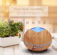 450ml Essential Ultrasonic Aroma Humidifier Air Wood Grain Humidifier With Colorful LED Light Portable Air Humidifier