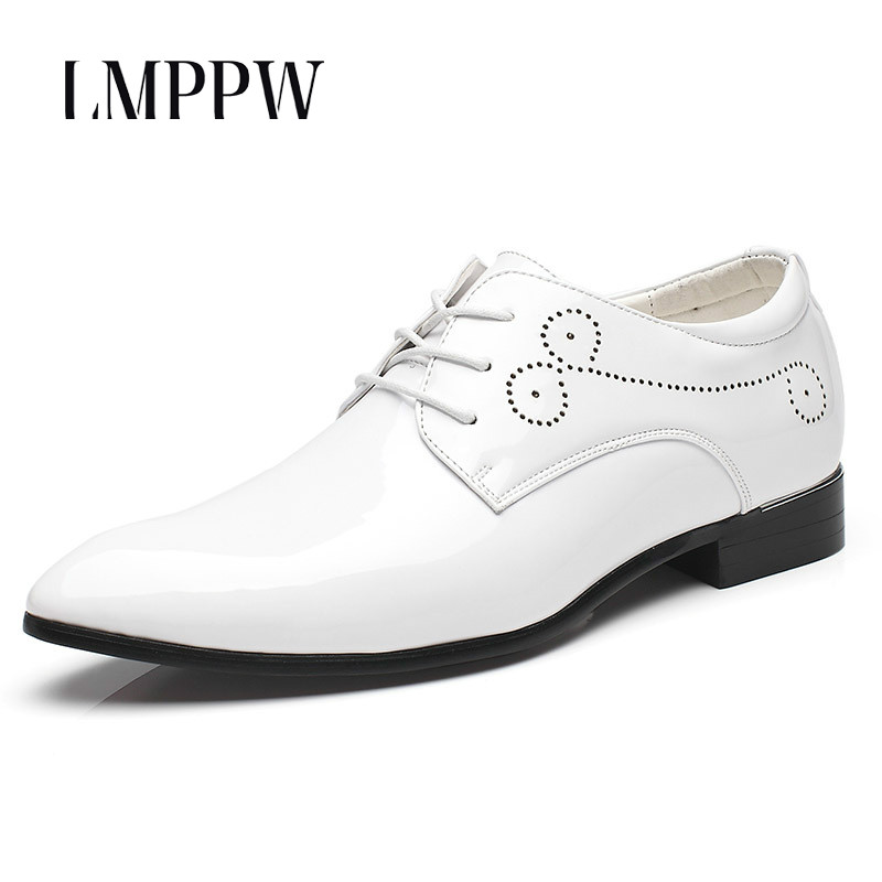 Fashion Pointed Men's Business Dress Shoes Patent Leather White Wedding Brogue Shoes Luxury Oxfords for Men Flats Formal Shoes