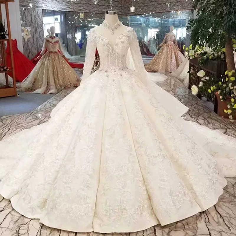 WONDMOND свадебное платье старинные c высоким горлом бальные платья Бисероплетение Кристалл Свадебные платья с длинными рукавами robe de mariee
