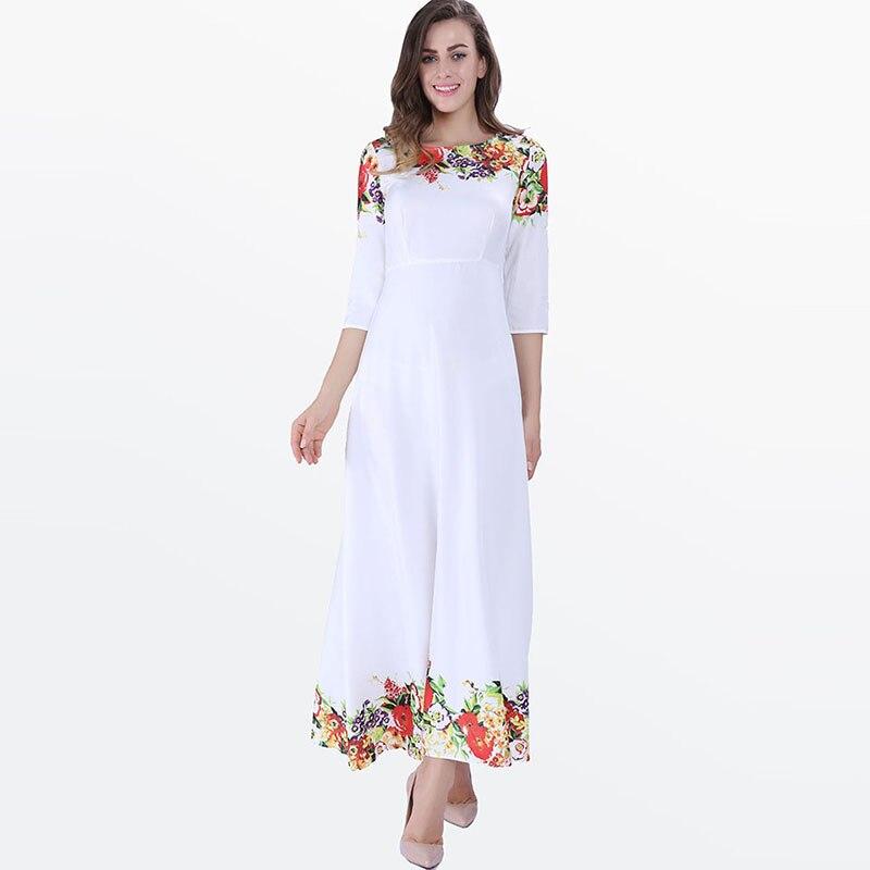 Clocolor Beach Vestidos de Las Mujeres 2017 Blanco Cuello Redondo Floral Pullove