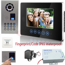 Video Phone Intercom Fingerprint/Code Unlock Door Video Touch button 7″TFT LCD Monitor 700TVL IR Camera IP65 waterproof Kit