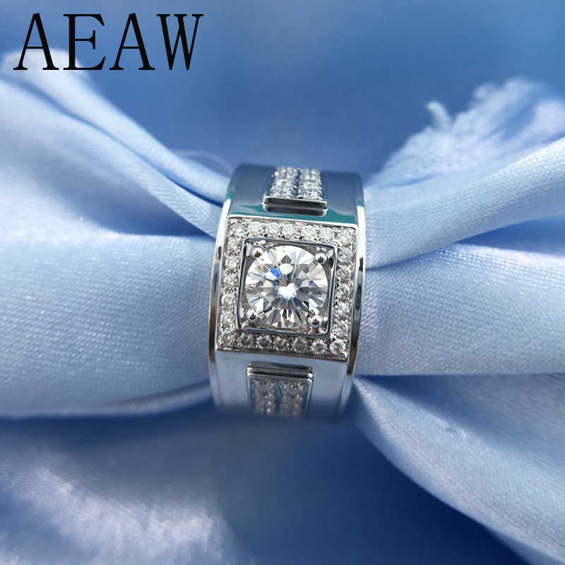 Round 18K White Gold Plated Silver Moissanite Ring 1ct 6 5mm Luxury Moissanite Weding Ring for