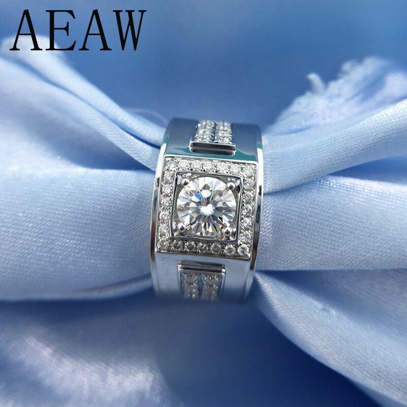 Okrągły 18 K biały pozłacane srebro pierścień Moissanite 1ct 6.5mm luksusowe Moissanite ślub pierścień dla mężczyzn w Pierścionki od Biżuteria i akcesoria na  Grupa 1