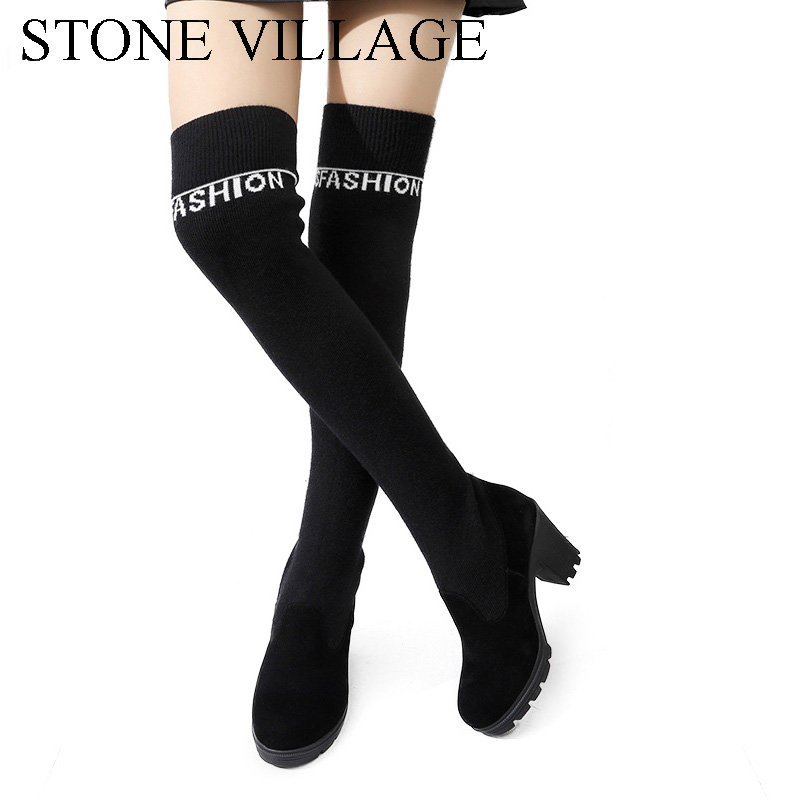 STONE VILLAGE Fashion Print Letters Cotton Knitting Thigh High Boots Women Square Heel Over The Knee Boots Black Shoes Woman the little women letters