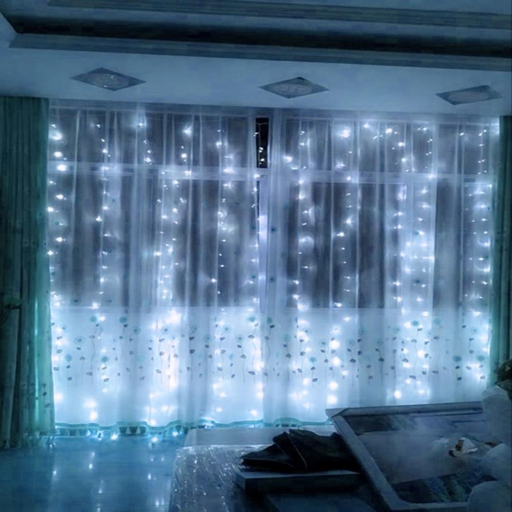 4.5 * 3 Meter 300 diody Zasłony LED String Lights Nowy Rok Girlandy - Oświetlenie wakacje - Zdjęcie 3