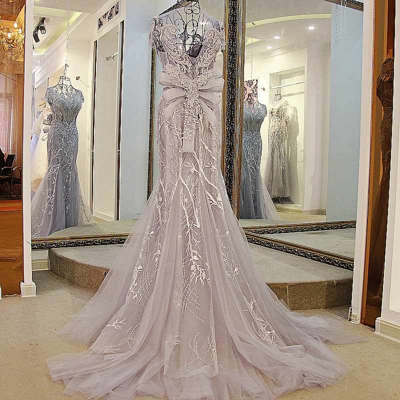 LS01980 vestido de noite de sereia laço para cima mangas de antebraia o pescoço com contas de vestidos formais casuais fotos reais cinzentas
