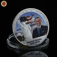 White House Presidentof United State Barack Obama America .999 Plated Souvenir Gold Coin Statue of Liberty Souvenir Coin