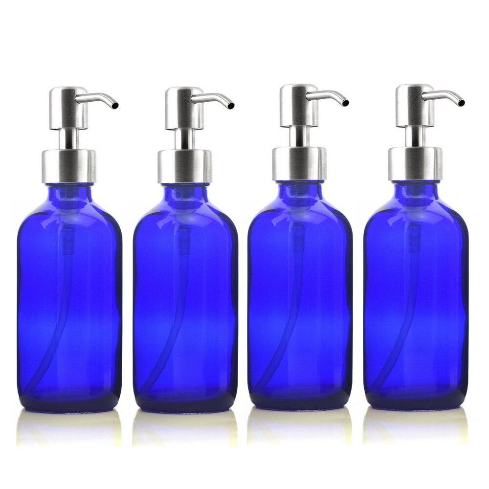 Cobalt Blue Glass Soap Dispenser 16 oz with Modern Curve Soap Dispenser Pump