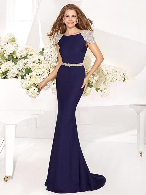 Free Shipping Fashionable Bling Royal Blue Beaded Mermaid Evening Dress Long  Arabic Prom Gown V Back Cap Sleeve Vestidos de Gala edd3637d3cd8
