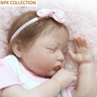 NPKCOLLECTION Silicone Reborn Dolls Baby Alive Soft Toys for Girls Kids,20 Icnh Real Dolls Reborn Babies Sleeping Doll Soft Toys
