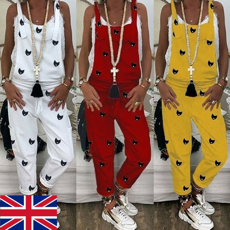 Women's Fashion Casual Pure Color Printed Loose Jumpsuit Dungarees Playsuit Trousers Overalls