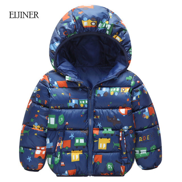 d2d113185 Children s Winter Jackets 2018 New Graffiti Hooded Boys Coat Cotton ...