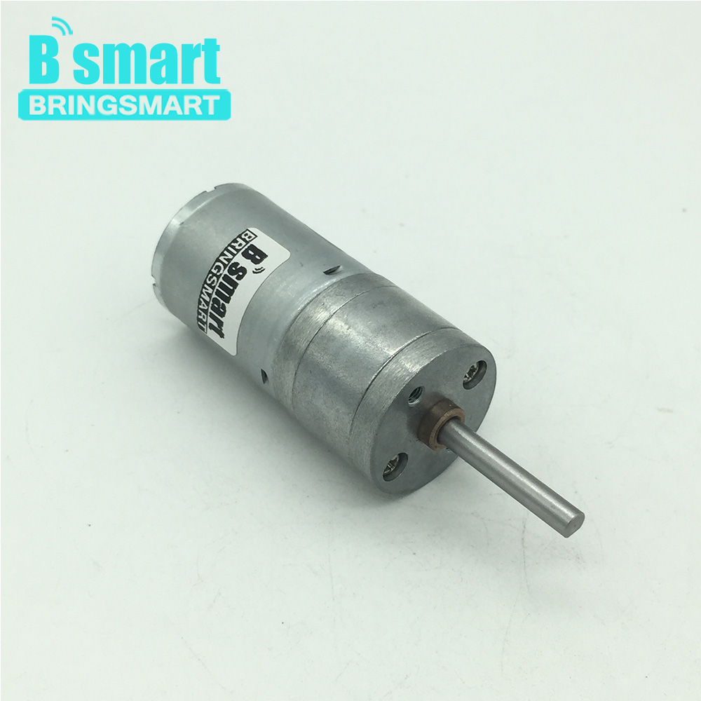 Bringsmart DC Gear Motor 12-24V Shaft Length 25mm D Shape Long Shaft Motor Mini Extended Shaft Reducer Electric Motor Metal Gear liulian motor potentiometer a100k 25mm round shaft
