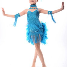 2018 NEW New Children Kids Sequin Feather Fringe Stage Performance Competition Costume Latin Dance Dress For Girls Blue