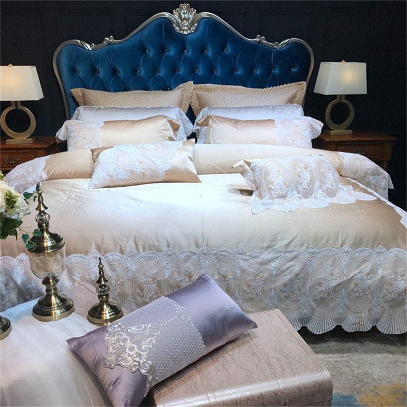 New Luxury Champagne Silver Purple Green Silk Cotton Bedding Set Romantic White Lace Duvet Cover Bed Linen Bed Sheet Pillowcases