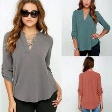 ZOGGA Women Fashion Plus Size Casual Long Sleeve V Collar Chiffon Shirt Tops  Deep Button