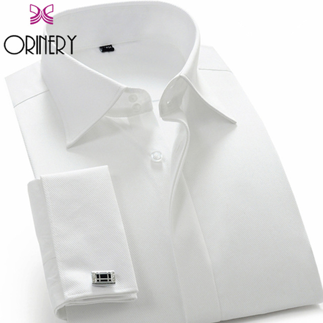 01320acfba0d ORINERY Hot Sale Solid Camisa Masculina Wedding Dress Long Sleeve French  Cuff Dress Shirt with Cufflinks Mens Brand Clothing