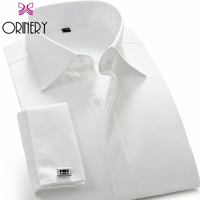 ORINERY Hot Sale Solid Camisa Masculina Wedding Dress Long Sleeve French Cuff Dress Shirt with Cufflinks Mens Brand Clothing