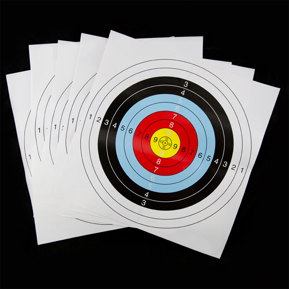10pcs Darts Paper Shooting Target Faces 10 Ring Round Archery Amusement Accurate Practice Prop Bows Accessories Sport Supplies