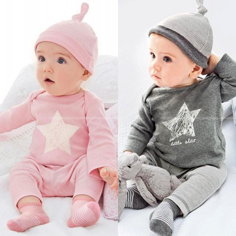 2016 New 3pcs Baby Clothing Sets Star pattern Long Sleeve T-shirt+Stiped pants+hat suit Outfit infant clothes