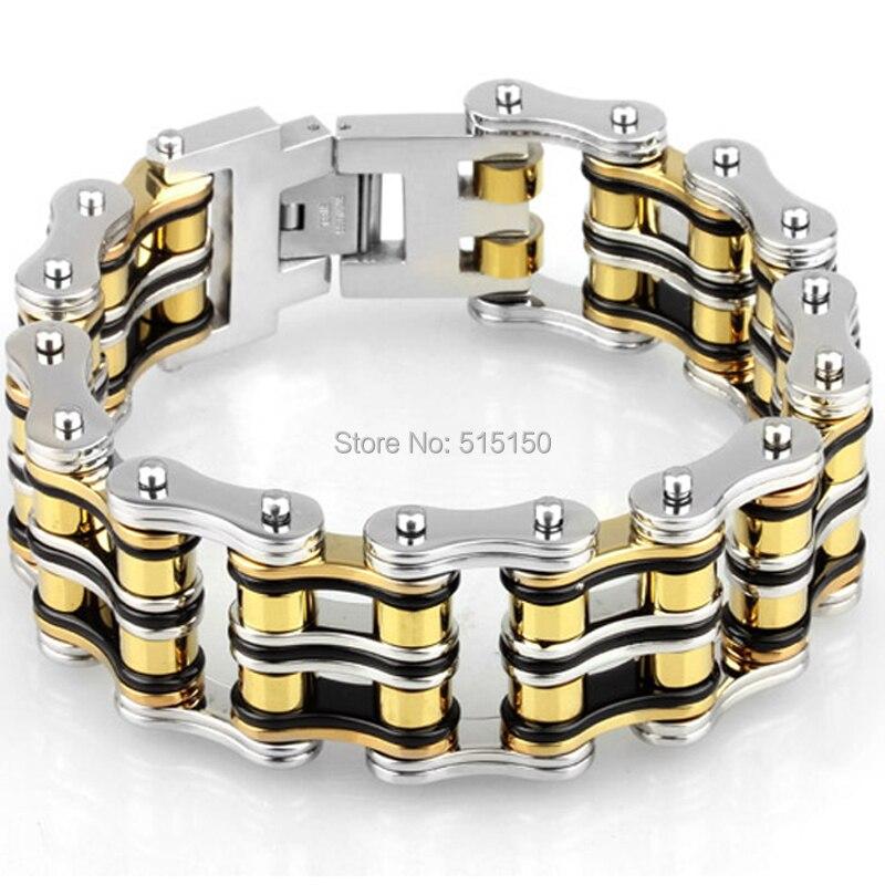 PUNK Biker vélo argent/or/noir 316L acier inoxydable Bracelet bijoux vélo chaîne Bracelet & bracelets bijoux pour hommes