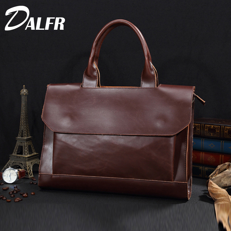 DALFR PU Leather Fashion Style Handbags 18 Inch Messenger Men Bags Designer Bags for Men Shoulder bags