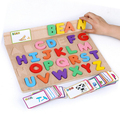 ABC Alphabet Card Learning English Kids Children Wooden Peg Puzzles Early Educational Toys