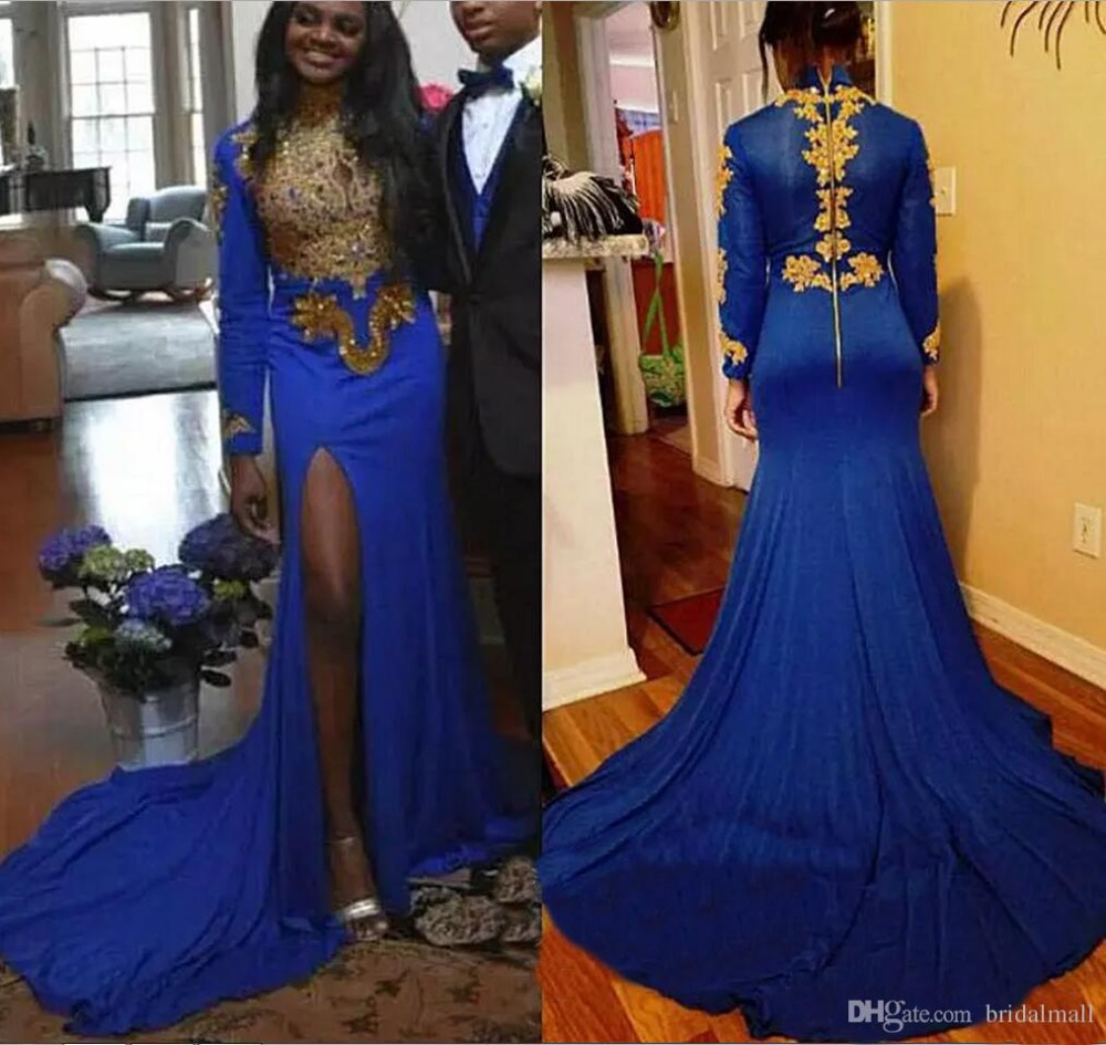 Sexy Split Mermaid Evening Dress 2019 Royal Blue Gold Applique abiye Arabia robe de soiree Party Prom Formal Pageant dresses