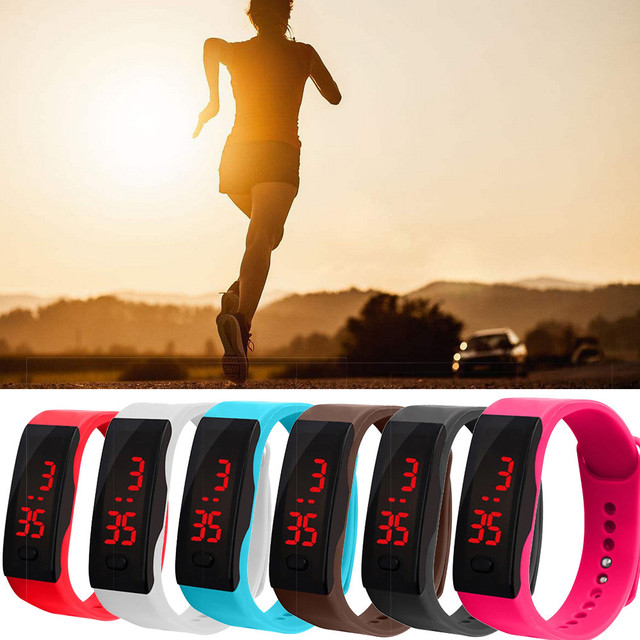 LED Digital Display Bracelet Watch Children's Students Silica Gel Sports Watch e