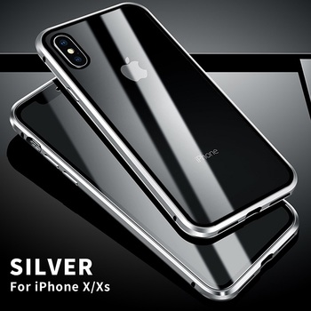360 Full Protect Magnetic Case for iPhone XR XS MAX X 9 8 7 Plus SE 2020 Case Glass Cover for iPhone 11 Pro Max Case coque Funda - For iPhone 11 Pro, Silver