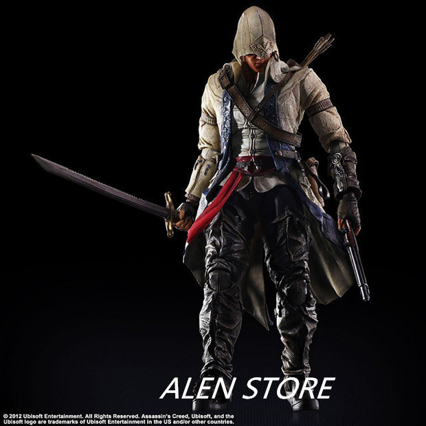 ALEN PLAY ARTS Assassins Creed 4 3 Black Flag Edward James Kenway Anime Game Figurine PVC Action Figure Model Toy 27cm 27cm play arts kai movable figurine assassin s creed edward pvc action figure toy doll kids adult collection model gift