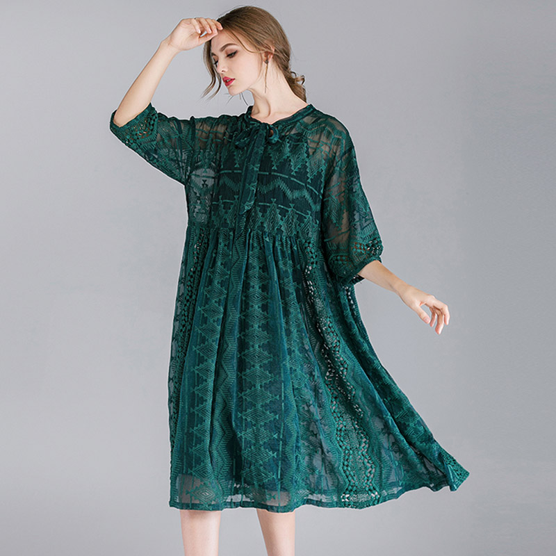 Women 39 s fashion loose Embroidery chiffon dresses high waist casual two piece Elegant dress Mid sleeve v neck large size dress in Dresses from Women 39 s Clothing