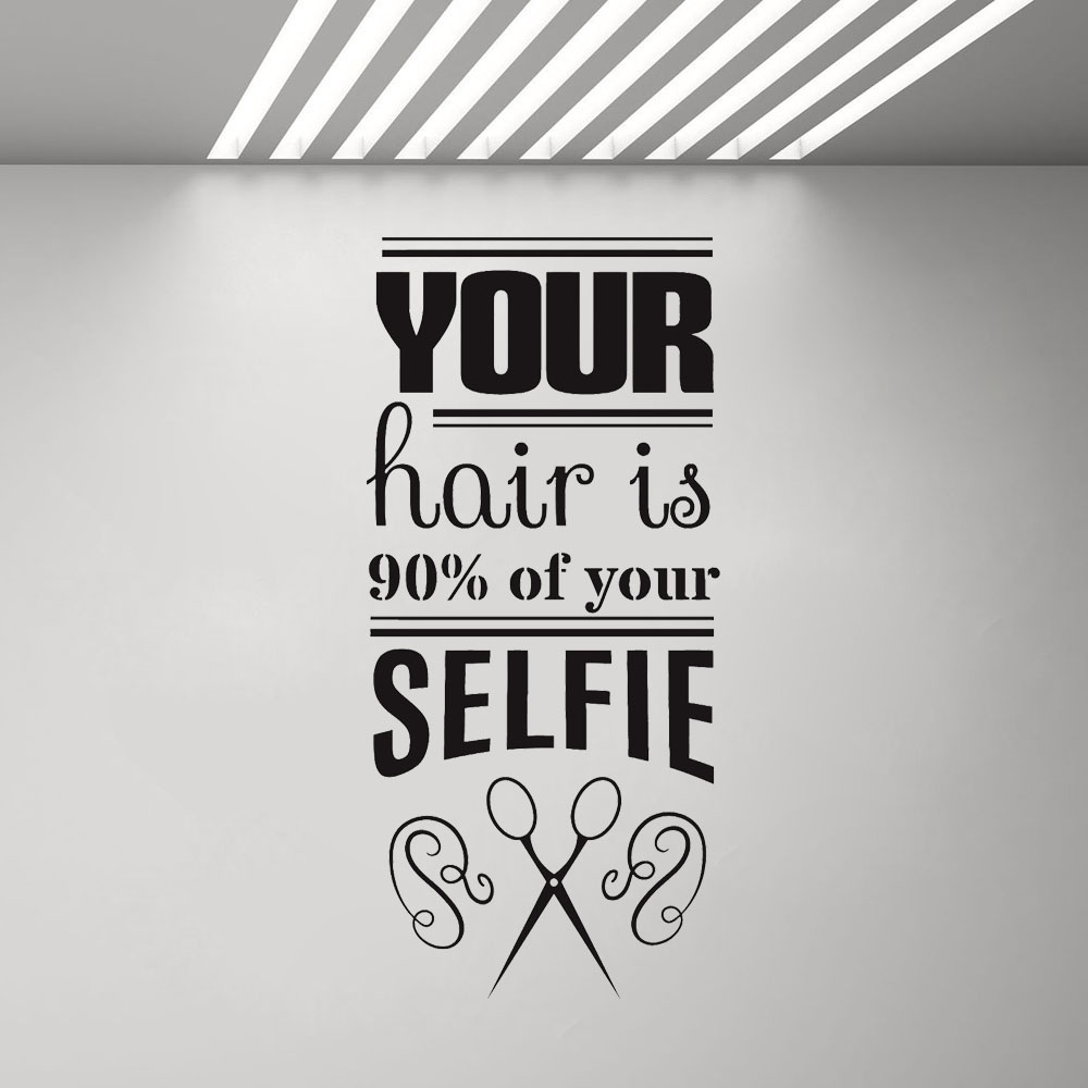 US $5.38 32% OFF|Vinyl Wall Decal Funny Hair Salon Quote Barbershop Stylist  Stickers Removable Window Decals Scissors Bedroom Wall Sticker G260-in ...