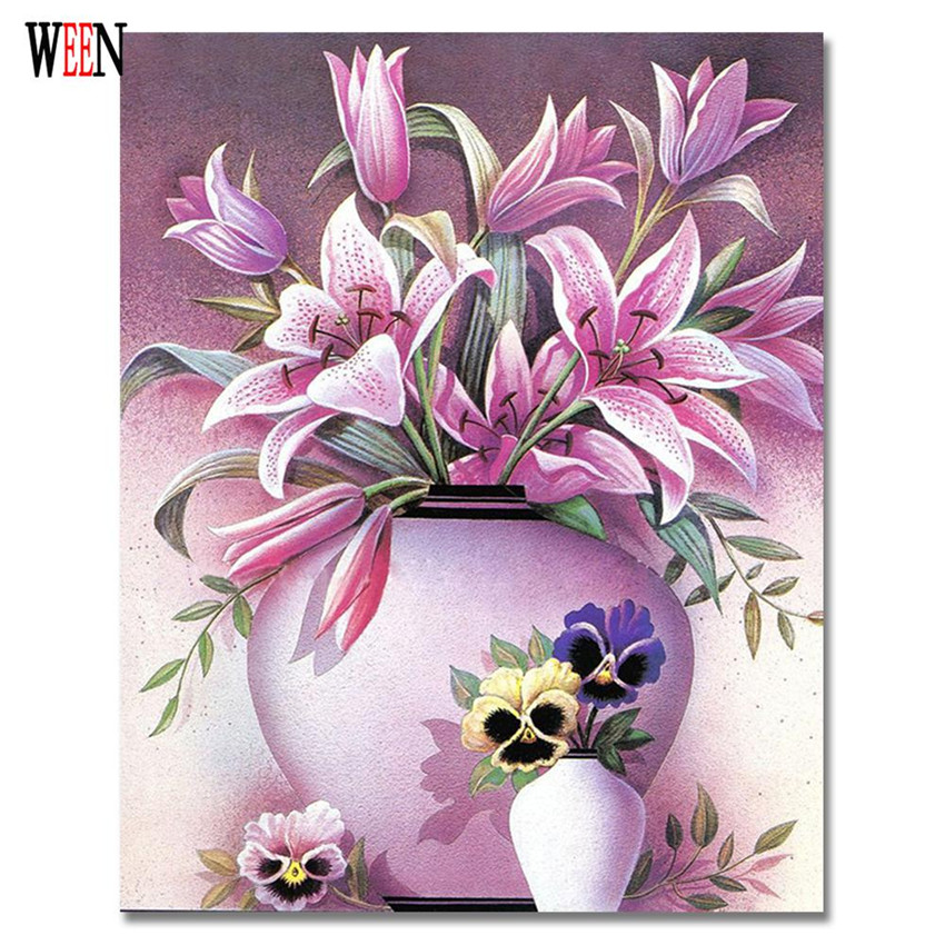 Wall Painting Flower Unique Gifts Canvas Oil Paintings Cuadro Wall Art 40x50cm <font><b>Elegant</b></font> Lily <font><b>Home</b></font> <font><b>Decoration</b></font> Coloring By Numbers