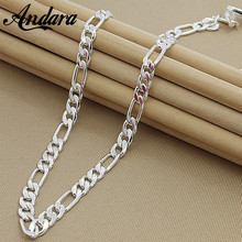 Мужское серебряное ожерелье 8 мм 22 дюйма 55 см, модное 925 пробы Серебряное ювелирное изделие, цепочка Фигаро для женщин и мужчин, качество AAA