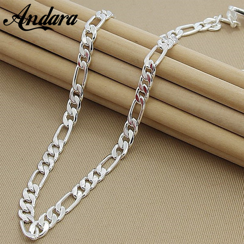 Mäns 8MM 22 '' 55cm Silver Halsband Mode 925 Sterling Silver Smycken Figaro Chain Necklace For Women Male AAA Quality