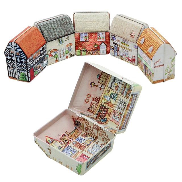 Cute Metal Gift Boxes Mini house tin Empty Tin Storage Box Tinplate Dream House Tin Metal Container Small Storage Box Kids Gift