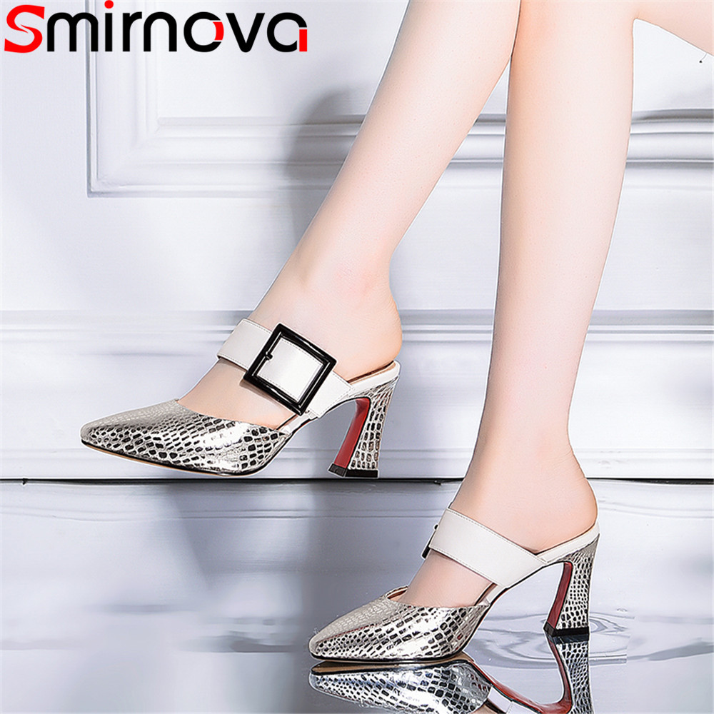 Smirnova big size 33 43 fashion 2018 summer new shoes woman pointed toe sandals women genuine