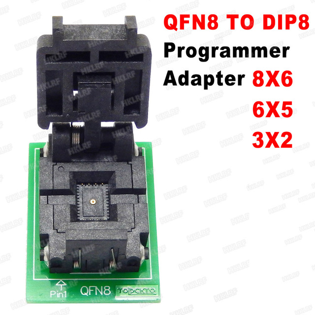 QFN8 to DIP8 Programmer Adapter WSON8 DFN8 MLF8 to DIP8 socket for 25xxx 6x5 3x2 8x6mm Pitch=1.27mm