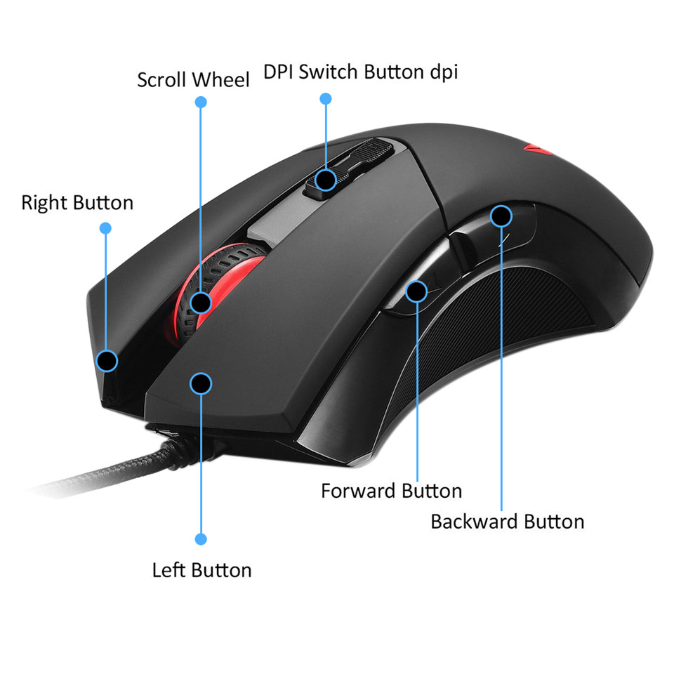 Delux M555 Gaming Wired Mouse Gamer Laptop PC Mice USB Wired Ergonomics Design 4 colors Backlight for  game player Desktop PC