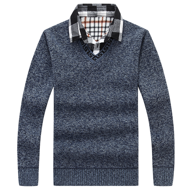 Mens Shirts V Neck Basic Cotton Sweaters False Two Piece Pullover Men Autumn & Winter Casual Knitted Brand Sweaters
