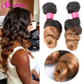 8A Ombre Weave Peruvian Virgin Hair 4 Bundles Loose Wave Virgin Hair Two Tone Human Hair Weave Virgin Peruvian Hair Loose Wave