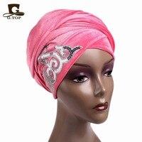 Barato Al Por Mayor nueva moda mujeres Adornado Con lentejuelas Velvet Turbante pañuelo en la cabeza Hijab Cabeza Larga Abrigos mujeres de lujo turbante
