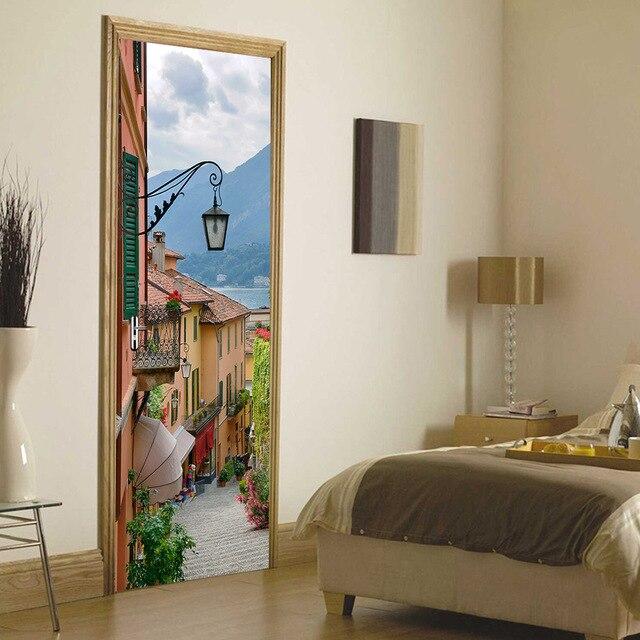 US $43.21 |3D Adesivi Per Porte Adesivi Murali Italia Città Italia Città  del Lago di Como Street Porte Ristrutturazione Camera Da Letto Adesivo De  ...