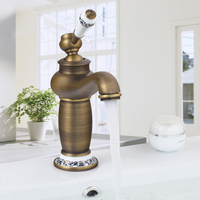 RU Free Shipping Bathroom Vanity Sink Faucet Single Ceramic Ceramic Brass Handles Hot And Cold Water